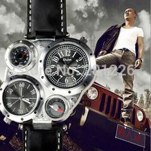 2015 Luxury Oulm Brand Trendy Design Fashion Men Military Double Time Zone Wrist Watch Leather Band.Relogio Masculino.9415 Saat