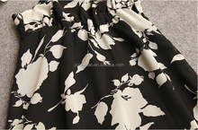 women's over printed chiffon braces skirt with knitted lining