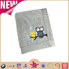 Grey color coral fleece and micro plush material vivid owl embroidery super-soft hand-feel blanket wholesale throw 2016