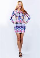 Fashion Cut Out Waist Holes Digital Print Long Sleeve Mini Dress