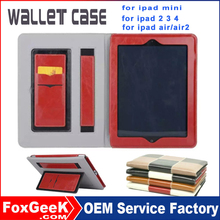 Book style wallet flip pu pouch shockproof protective leather cover case for ipad mini 2 hot selling in alibaba casen for ipad 2