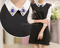 D63289T 2014 autumn and winter new style womens knit dress, false two pieces