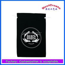 black cotton drawstring bag with custom logo