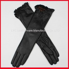 Classic black women elbow length gloves / long leather gloves /long opera gloves
