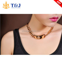 IN STOCK fashion personality gold plated iron chain lion head choker necklace for women men /