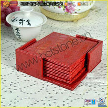 Hot Sale Newly Fashion High Quality Wholesale Promotion Fancy Custom Embossed Square Coaster With Holders Red Leather Coasters