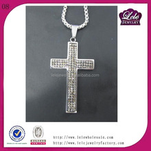 fashion stainless steel pendant necklace jewellery catholic religion cross pendant with crystal