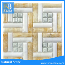New arrival round shape yellow marbel mosaic