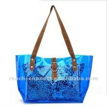 Superstar shining clear pvc blue handbag
