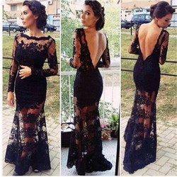 2015 Summer Maxi Dress Black Lace Sexy Open Back Party Dress Hollow Out Evening Dress