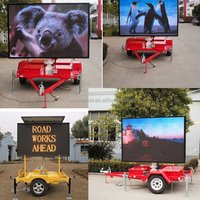 led display trailer, mini trailer truck advertising led display wifi scrolling outdoor sided led sign, LED solar trailer sign