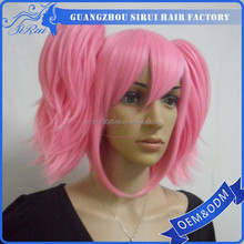 Hot sale cosplay wigs with two ponytails short light pink wig, short light pink wig, black pink hair