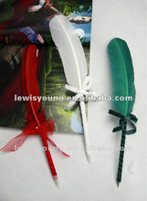 Turkey feather ball pen with bowknot