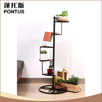 Unique design metal iron spiral staircase plant display rack