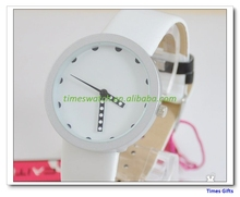 Strips Indicate Time Dial White Leather Band