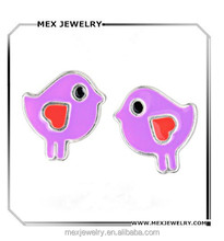 Solid 925 Sterling Silver Purple And Red Enamel Chicken Bird with Heart Post Earrings