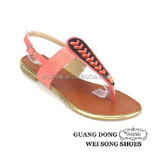 2015 top quality colorful ankle buckle slingback fancy flat hew design fashion thong sandal