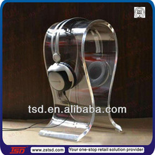 TSD-A756 custom shop counter clear acrylic headphone stand/transparent display pop/acrylic display for headphone