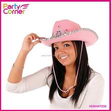 Pink Cowboy Hat With Tiara Flashing