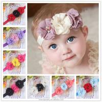 Handmade Chiffon three flower baby headband for girls + elastic hair bands+children jewelry hair accessories for kids BTS015