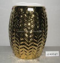 Chinese golden grain hollow ceramic garden stool