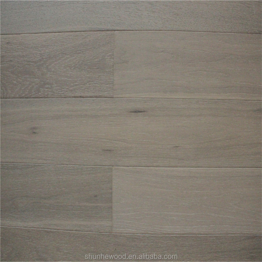 Cheap prices smoked grey stained wire brushed white wash for Oak wood flooring for sale