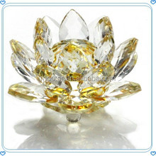 1 PACK 90cm Clear Yellow Crystal Lotus Gift For Wedding Family