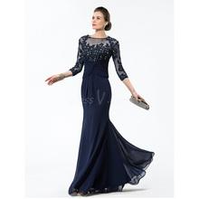 Jewel Sequins 3/4 Length Sleeves Mermaid Mother of Bride Dress