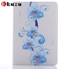 Flower design Flip pu leather case for iPad High quality pu cover with card slot can ba stand