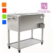 80L patio metal rolling cooler cart