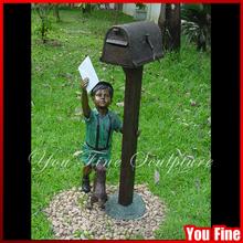 Outdoor Boy Bronze Mailbox Sculpture