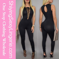 New design Sexy Lace-up Bust Deep V Neck Women Jump Suit Wholesale