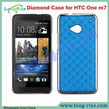 High Quality Bling Electroplating Diamond Starry Hard Back Cover for HTC One M7 Case