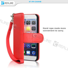 2015 New Arrival girl's style leather cell phone case for iphone 6, wallet case for iphone 6 with hand strap