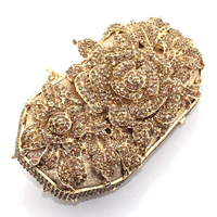 2015 Luxury Rose Flower Shape Handmade Crystal Stone Clutch Evening Bag