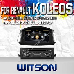 WITSON FOR RENAULT KOLEOS 2014 DOUBLE DIN DVD WITH 1.6GHZ FREQUENCY DVR SUPPORT WIFI 3G BLUETOOTH