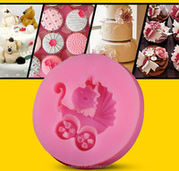 A baby carriage silicone fondant mold for decorating cake,mold silicone cake