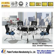 PT-M003 WorkWell office furniture supply standard high gloss office glass desk with metal legs good quality