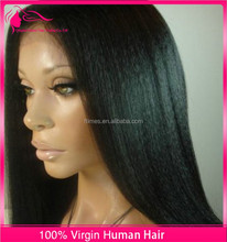 Premium quality 12-26inch light yaki virgin color human hair glueless lace front wig