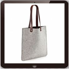 Newest 100% wool felt PU leather handle high quality felt tote bag