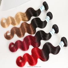 Grade AAAAAA two tone ombre hair weave,brazilian remy hair weaving