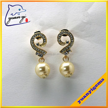 earring factory china white stone paving pearl earring