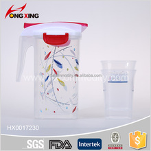 1.5L full printing plastic pitcher with lid and 4 cup set