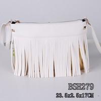 China fashion hot sale long tassel upscale white shoulder bag