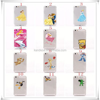 Cellphone Case For iPhone 4 for Snow White Girl Princess Cinderella Rapunzel Girl Frozen Elsa Anna Transparent Clear Cover