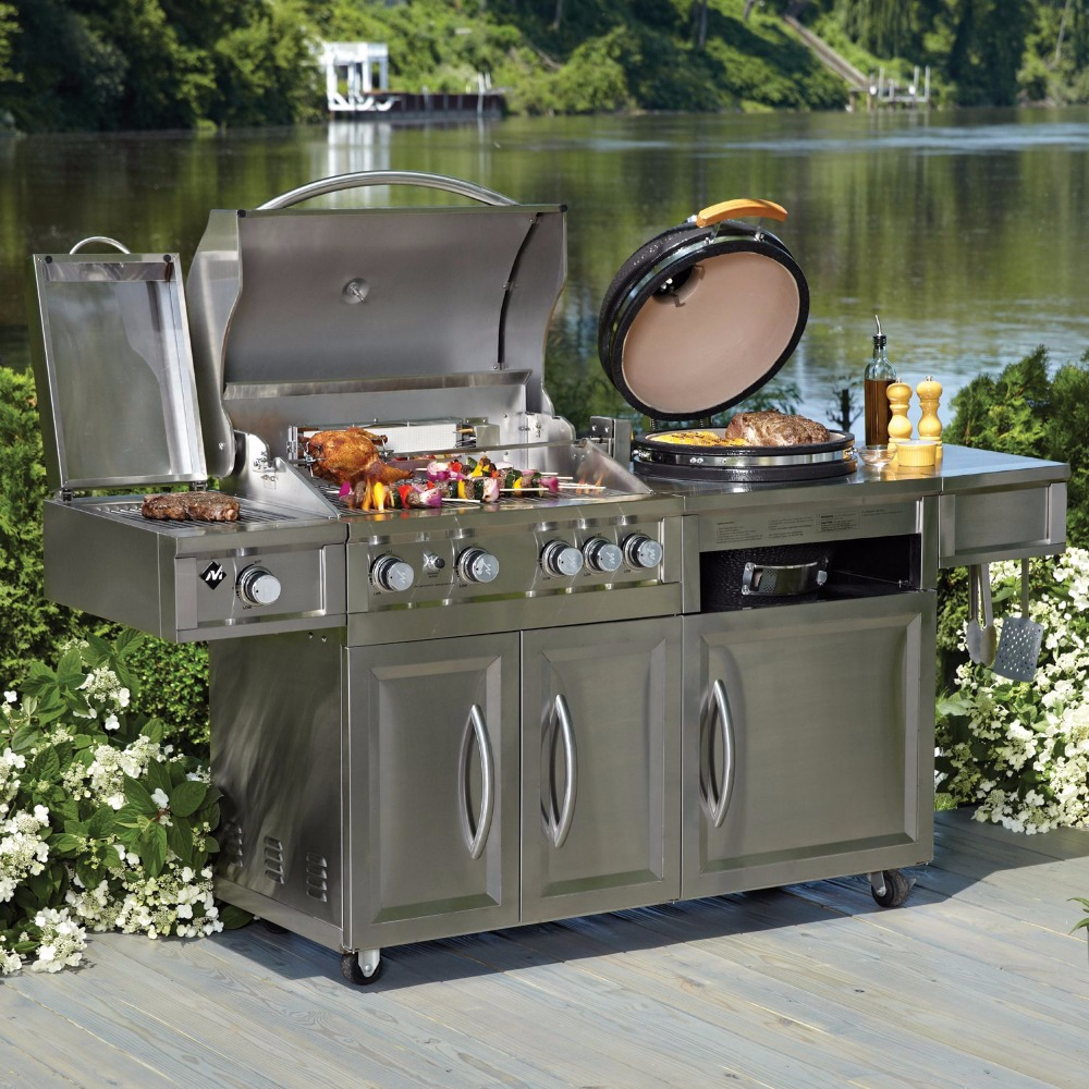unique design outdoor kitchen grill gas charcoal and kamado 2 in 1