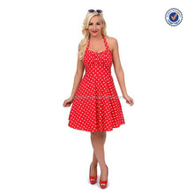1950s style halter fit and flare dress women red and white polka dot dress