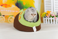 Cheap cat houses warm flower plush pet bed kennel house for cats