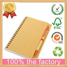 2015 cheap bulk recycled notebook/ kraft paper notebook/notebook with pen