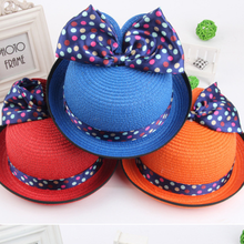 MS70011H Korea style kids lovely straw hats with ribbon bowknot girls sunhats
